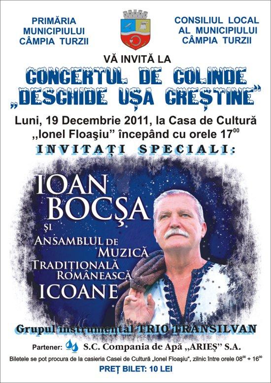 Ioan Bocşa va susţine un concert de colinde la Câmpia Turzii